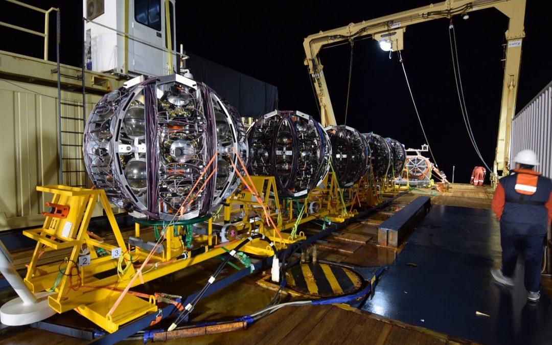 El telescopio de neutrinos KM3NeT/ARCA tiene ya operativas seis unidades de detección